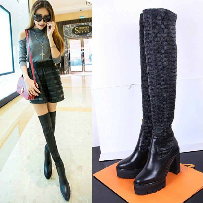 European Brand Women's Winter Boots Slim Fit Spandex Platform ...