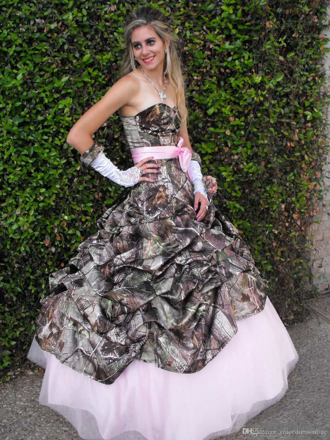 Discount 2016 spring sexy camo wedding dresses sweetheart for Camo ribbon for wedding dress