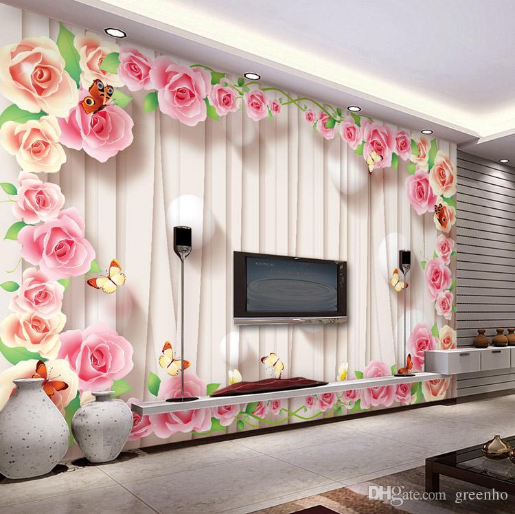 Romantic Rose Wallpaper Personalized Custom 3d Wall Murals Modern Photo Wallpaper Wedding Room Decor Kid Bedroom Living Room Interior Design