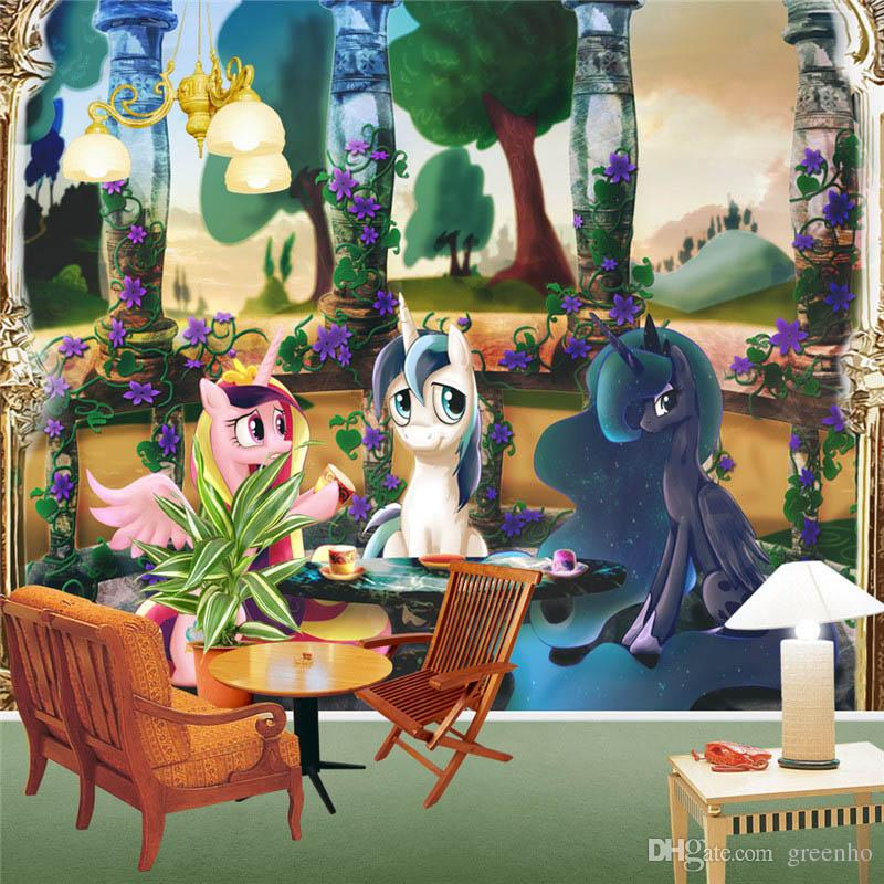 Charming My Little Pony Wall Murals Cartoon Anime Wallpaper Waterproof Photo  Wallpaper Kidu0027s Room Room Decor Wall Art Bedroom Sofa Background Wall Photo  Wallpaper ... Part 19