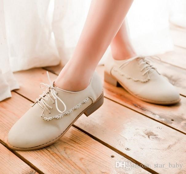 Shoes Woman 2015 New Spring Autumn Full Flats Shoes Ladies Lace-Up Women Oxford Flat
