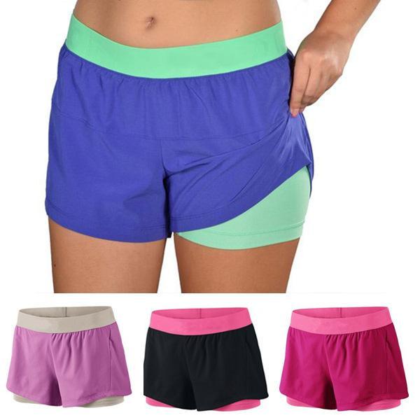 Summer Womens Compression Running Shorts Pink Girls Yoga Shorts ...