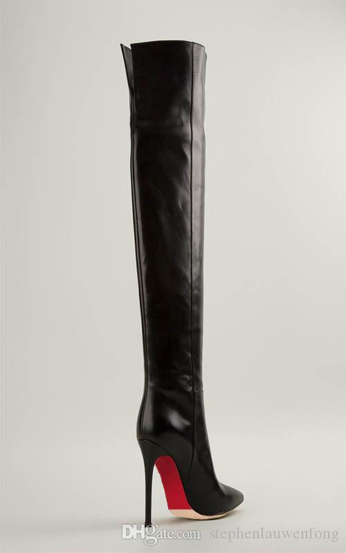 Difeina Womens Boot Over The Knee Boots Cowhide Knots Thick With ...