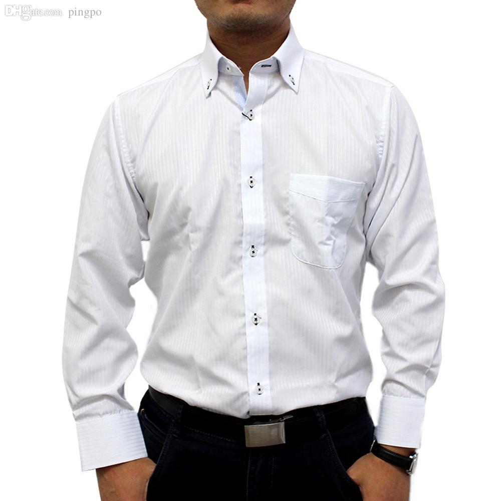 Online cheap wholesale men white stripe fshion blue stripe for White button down shirt mens