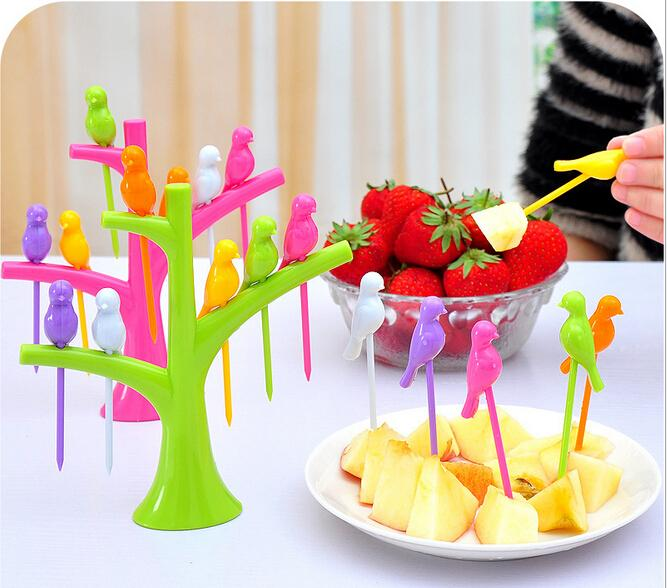 2017 Design Plastic Fruit Fork + Birds Fork Cutlery Set ...