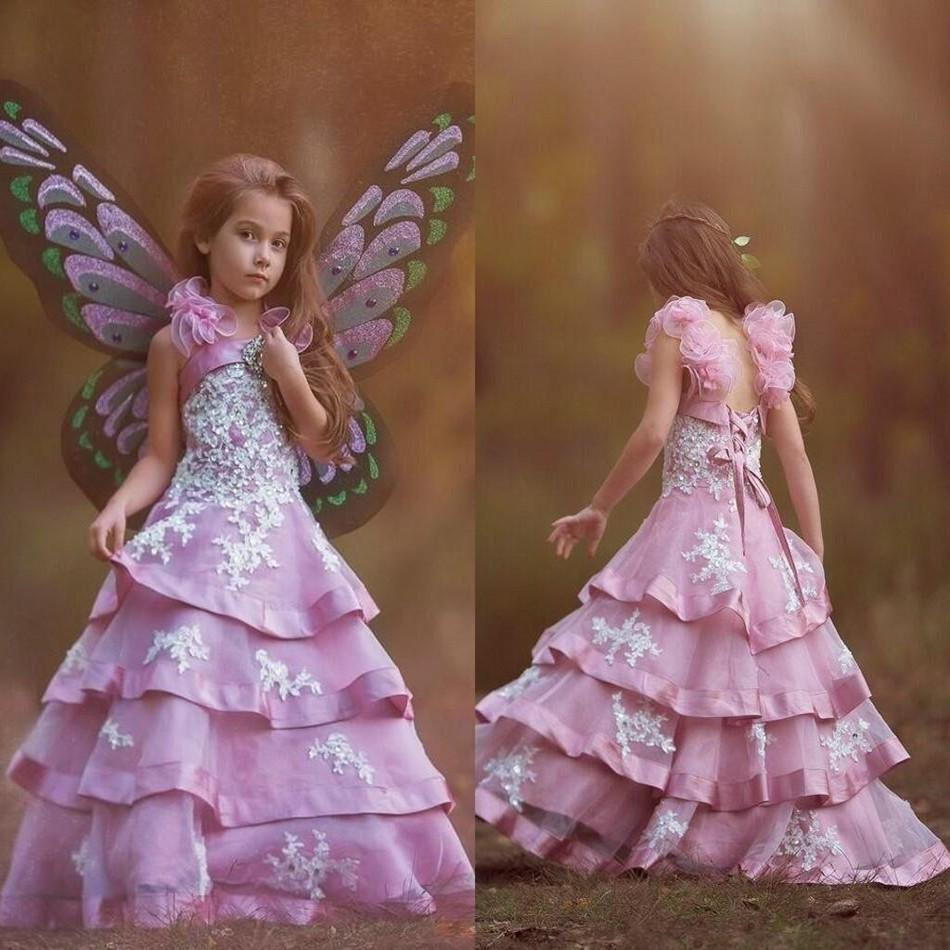 Fairy purple layered flower girls dresses with applique