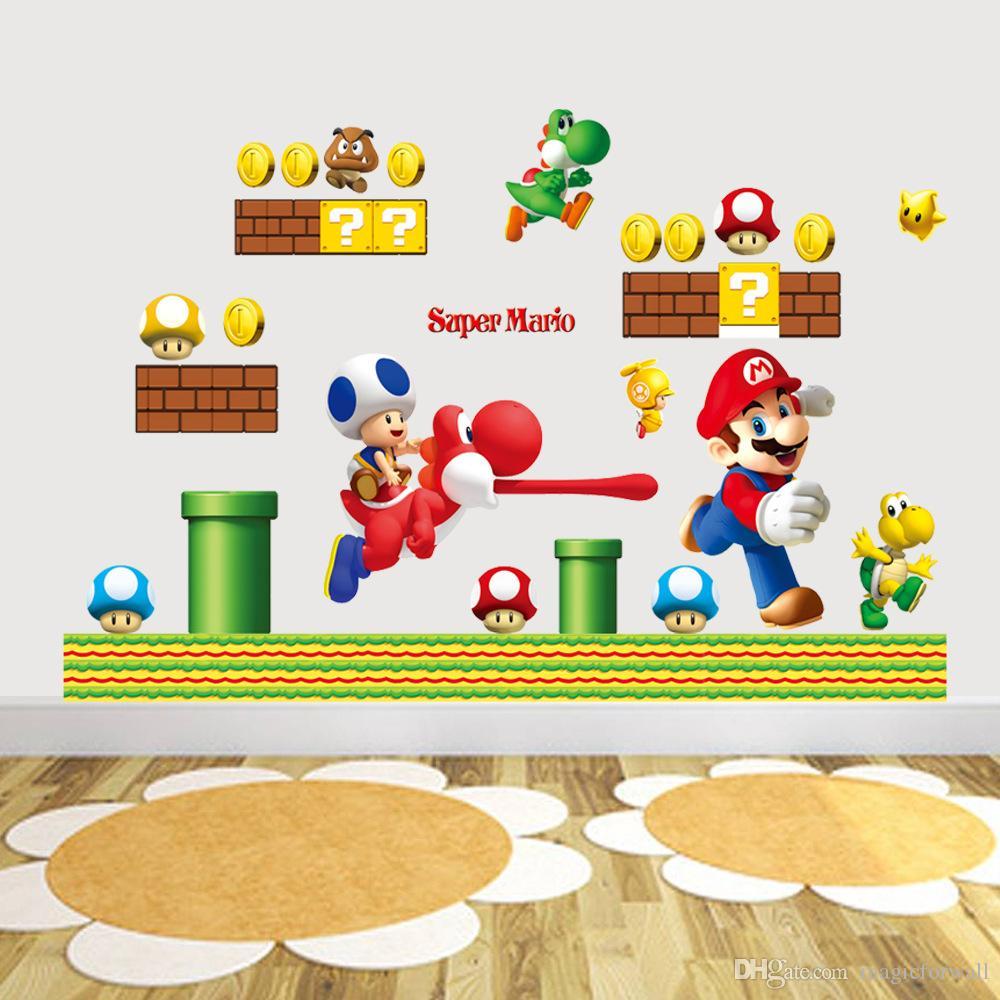 Super Mario Mural Art Wall Stickers Decal Decor for Baby s Room Girl    Boy s Room Wallpaper Art Decor Murals. Discount Super Mario Wallpaper For Bedroom   2017 Super Mario