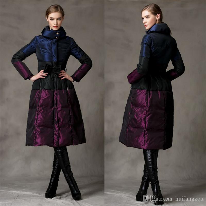 2016 Cheap Women Long Down Coats Black Purple Bow Long Belted