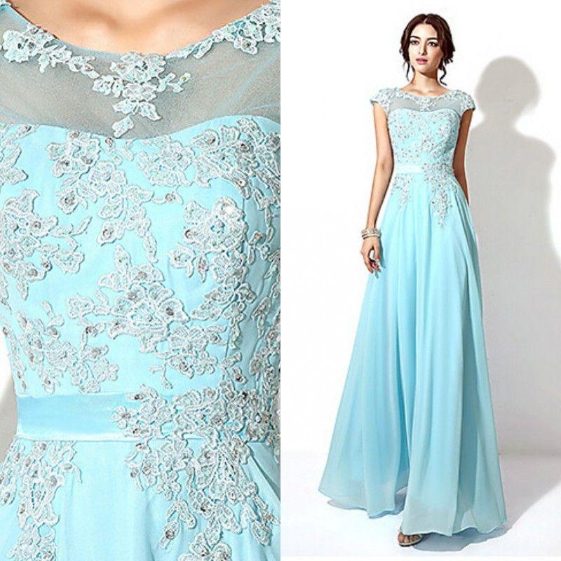 2015 Long Prom Dresses Cheap Lace Appliques Chiffon Long Formal ...