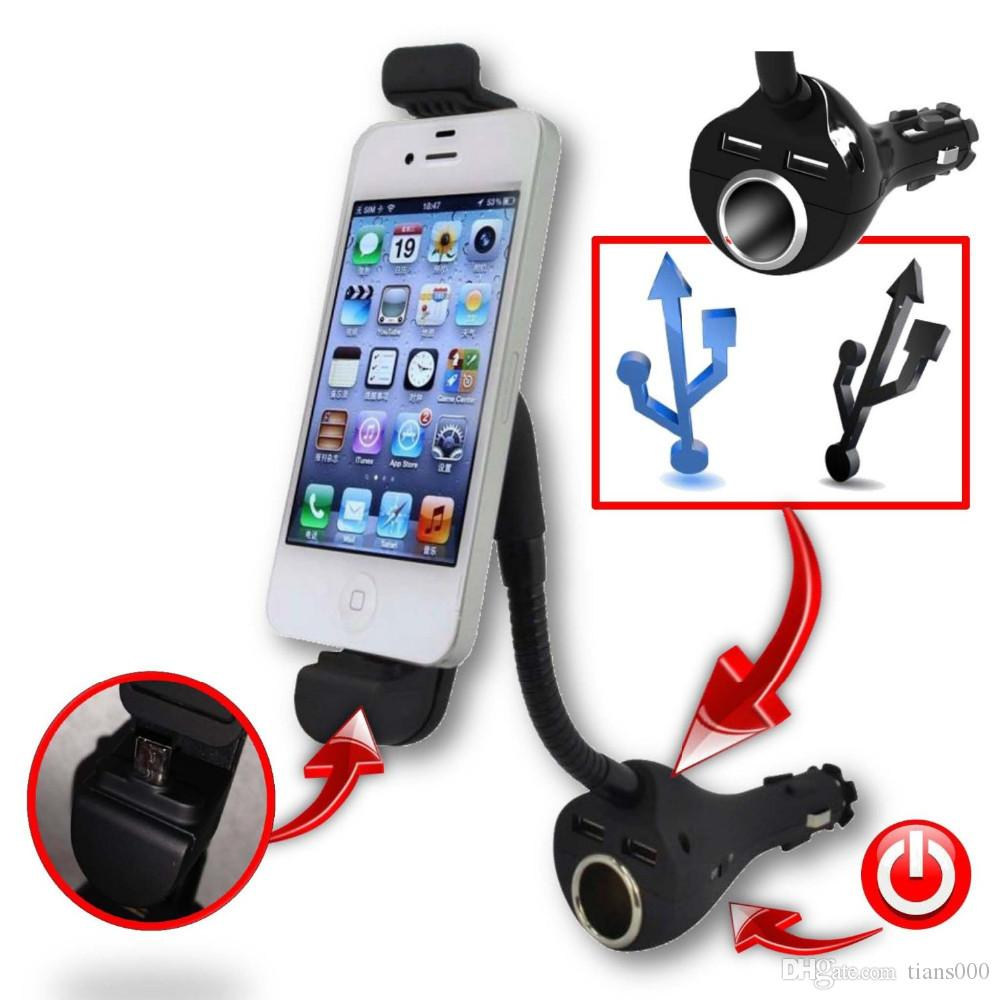 Car phone holder with dual usb charger cigarette lighter socket mount stand for apple iphone 5 5s 6 6s 6 plus gps mp3 player phone holder car charger