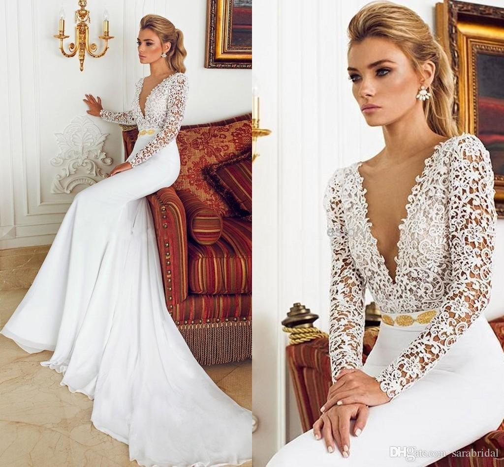 Deep V Neck Long Sleeve Mermaid Wedding Gowns 2016 Lace