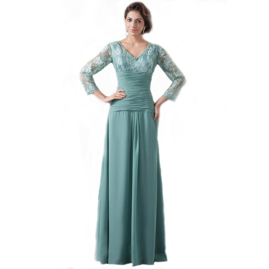 Mint Green Long Sleeve Evening Dresses 2016 V Neck Empire A Line ...