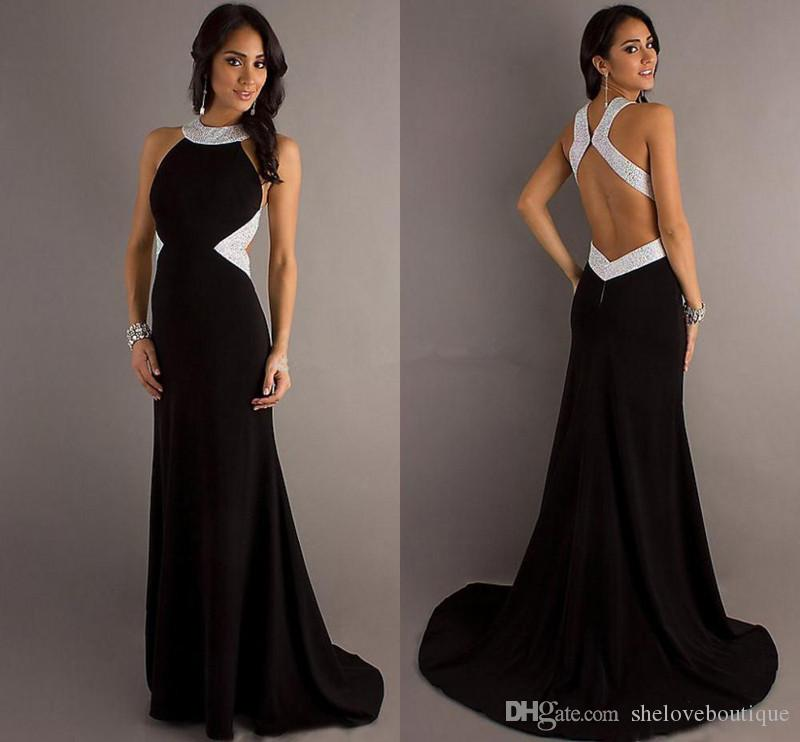 Sexy Black White Prom Dresses Sequins Backless A Line Chiffon ...