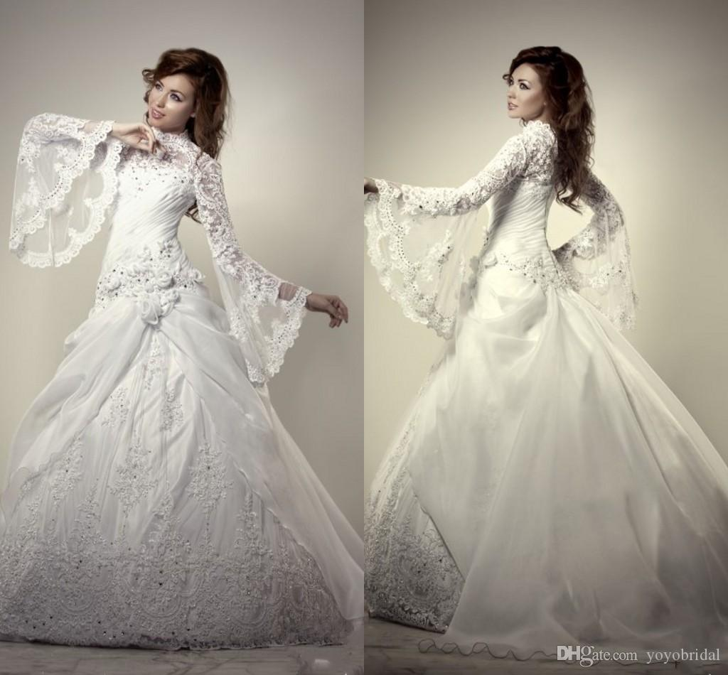 Discount Pricess Wedding Dresses 2016 Long Sleeve Beaded
