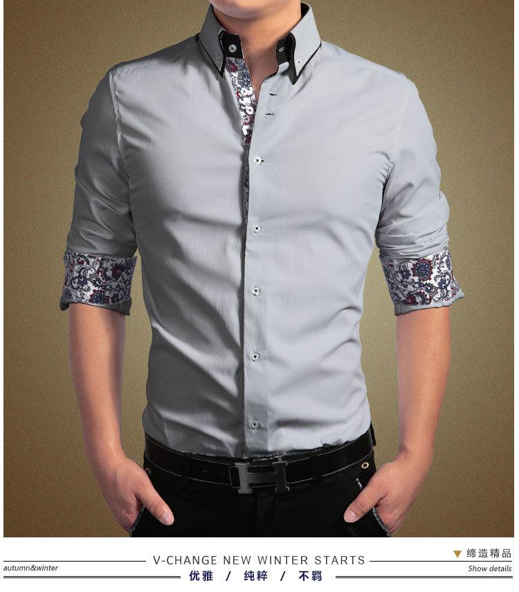 retail men shirts 2015 new style mans shirt flower sleeve