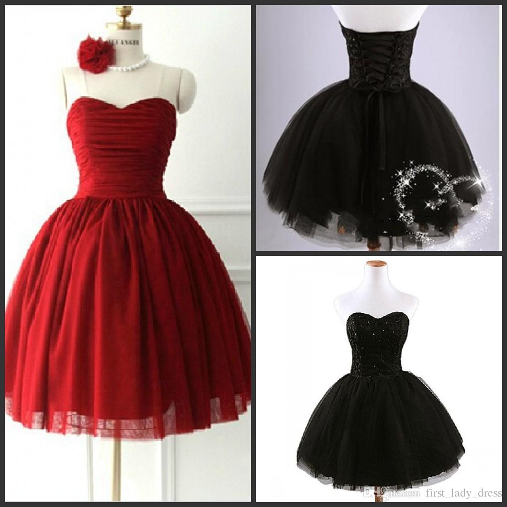2 Styles Dress Red Black Puffy Real Image Short Cute 2015