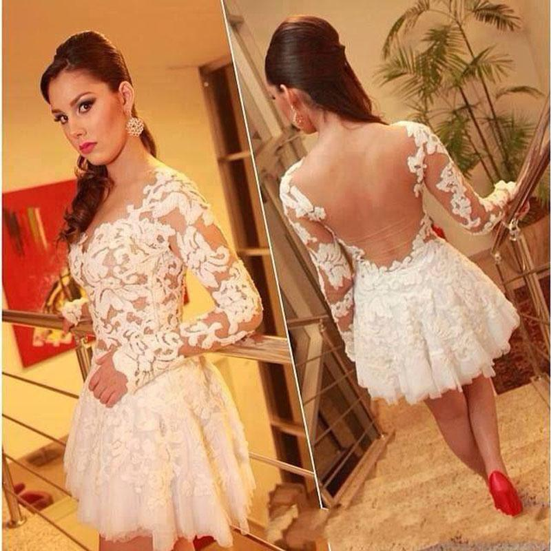 Sweet Lace Short Homecoming Dresses 2015 Line Long Sleeves Sheer Back Cocktail Sexy Appliques Formal Party