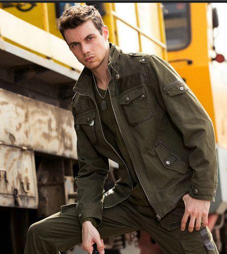 2016 Men Jacket English Style Military Jacket Solid Mandarin Collar Long Sleeve Army Jacket