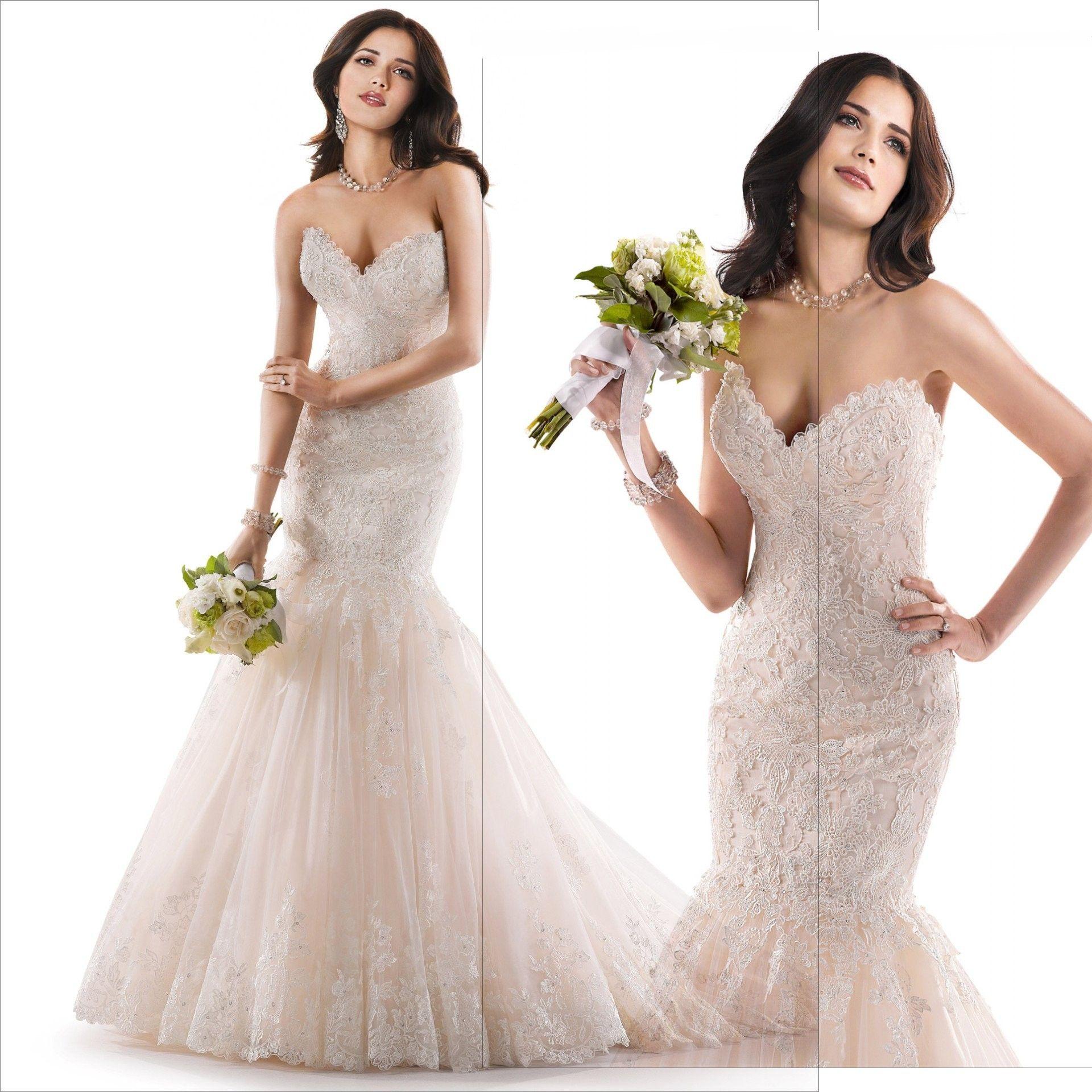 2016 Princess Sweetheart Lace Mermaid Wedding Dresses