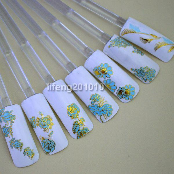 Wholesale new 2014 Hot Stamping Blue Flower Design 3D Adhesive Nail ...