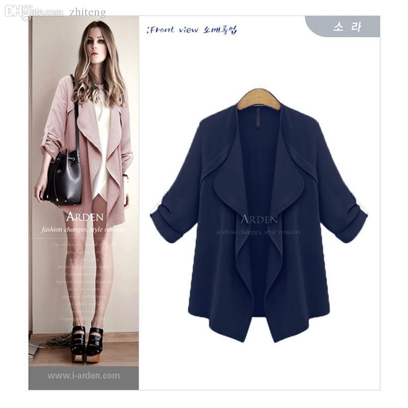 Wholesale-Free Shipping Women Coat 2015 New Autumn Solid Long Sleeve Open Stitch Cardigan Trench Coat Casaco Feminino Plus Size XL-5XL