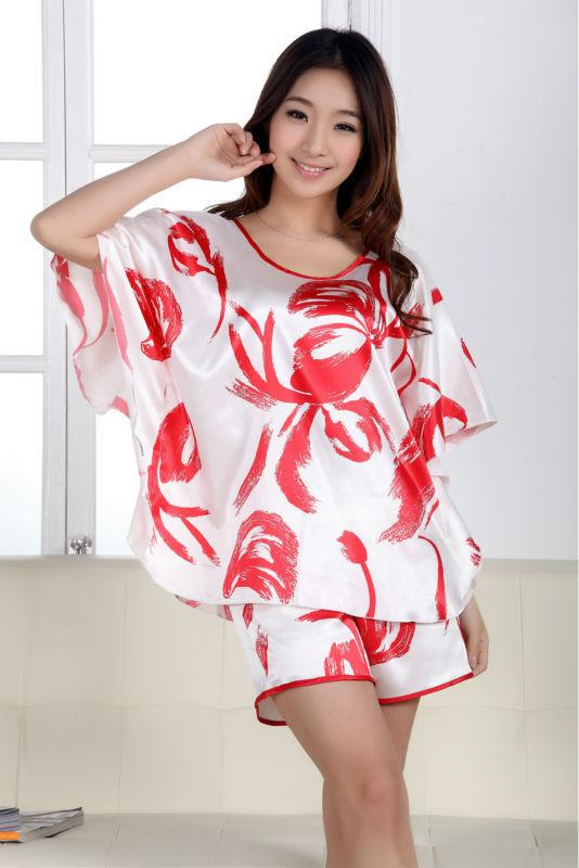 Cute Womens Silk Pajamas Satin Pajamas Sets Sleepwear Big Plus ...