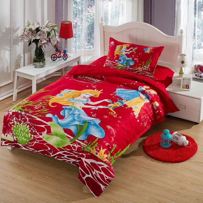 The Little Mermaid Bedding Set Twin Size Kids Girls Toddler Cartoon Red  Quilt Duvet Cover Bed in a Bag Sheet Bedspreads Cotton BED SETS Bed Cover  Bedsheet. The Little Mermaid Bedding Set Twin Size Kids Girls Toddler