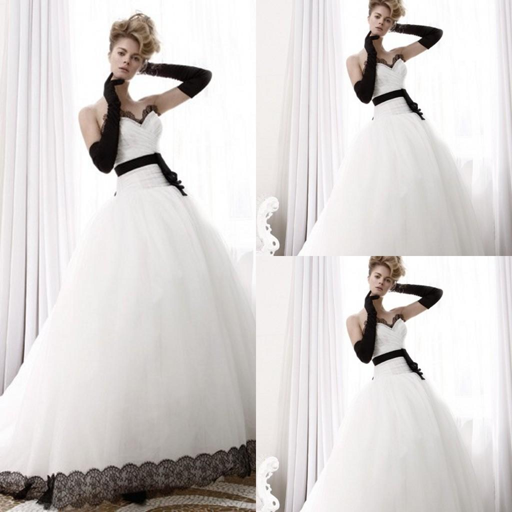 Discount 2015 Black And White Tulle A Line Wedding Dresses