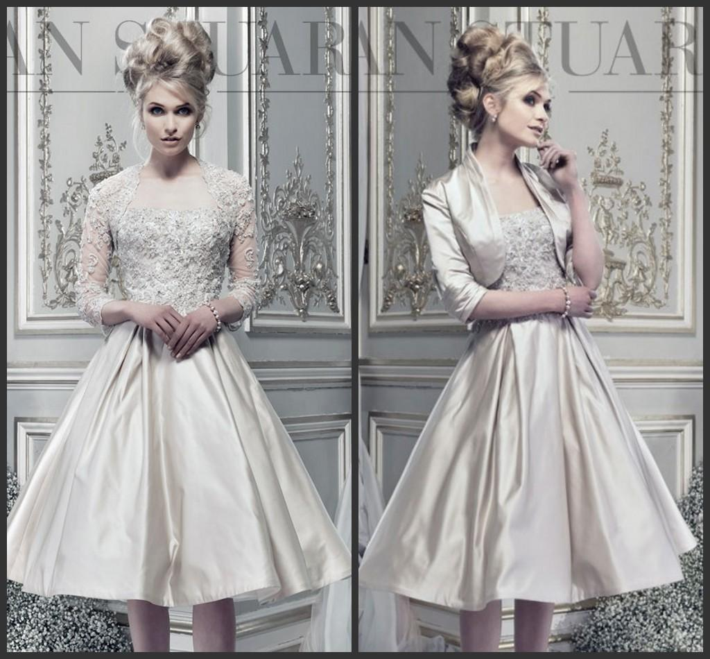 2015 Spring Elegant Long Sleeves Lace Wed Dresses A Line