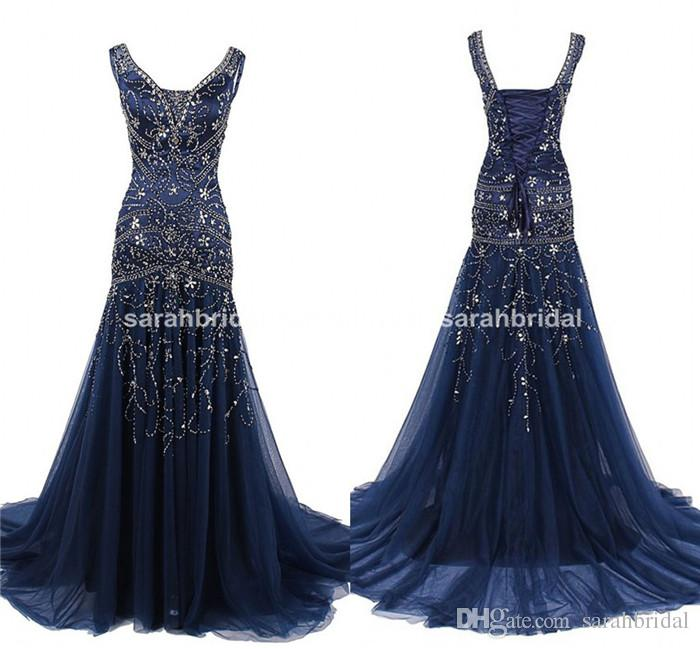 Prom dresses in utah arabic dark navy blue prom evening for Bling corset mermaid wedding dresses
