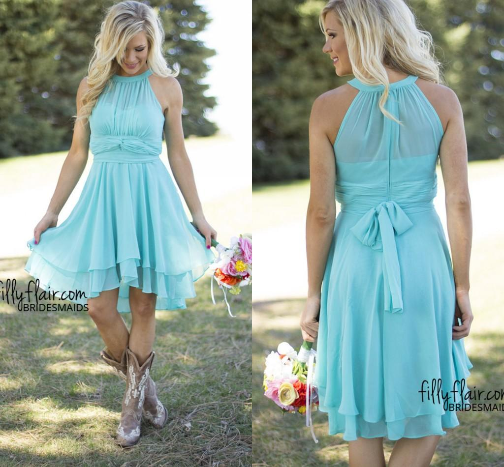 Mint beach bridesmaid dresses hi lo chiffon formal gowns for Hi lo dress wedding guest