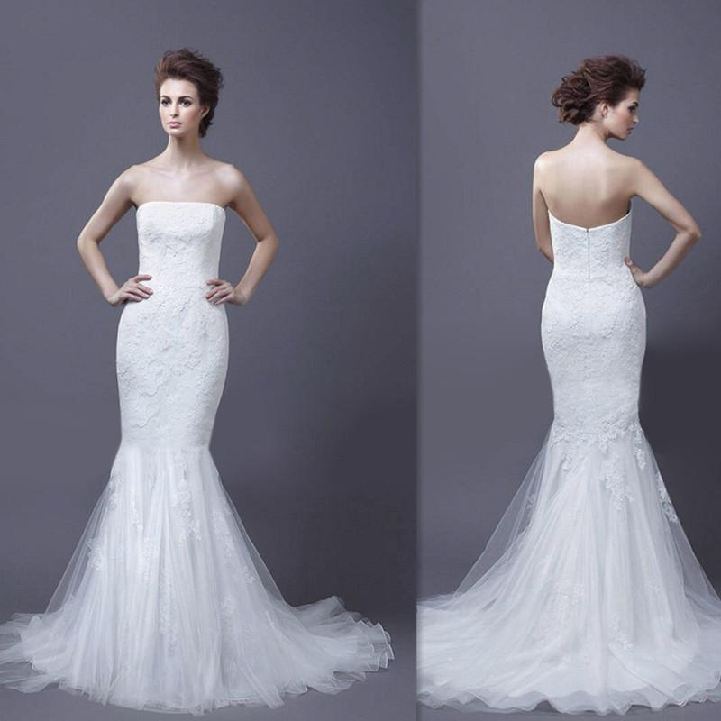 2016 christmas couture mermaid wedding dresses white lace strapless