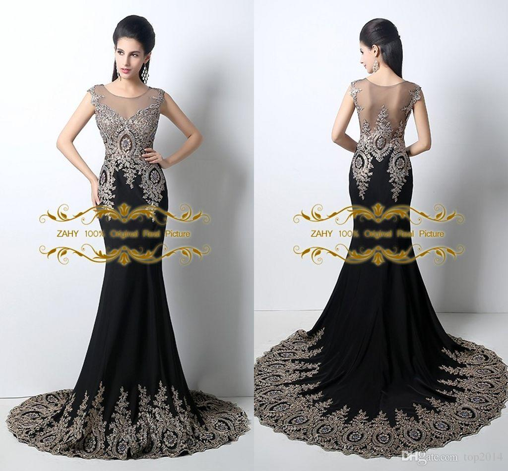 2015 New Luxury Evening Dress Mermaid Applique Beaded Formal ...