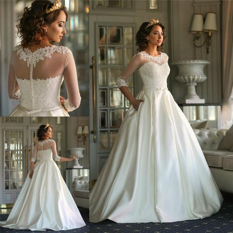2016 wedding reception dresses lace appliques 3 4 long for Plus size dress for wedding reception