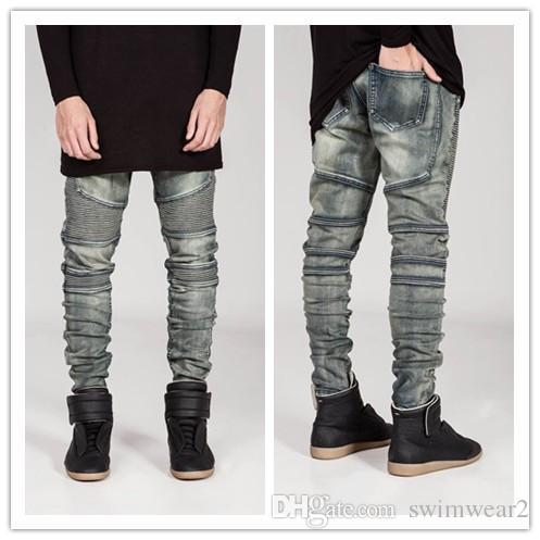 Wholesale Gender New Arrival Color And Design Slim Men Biker Denim ...
