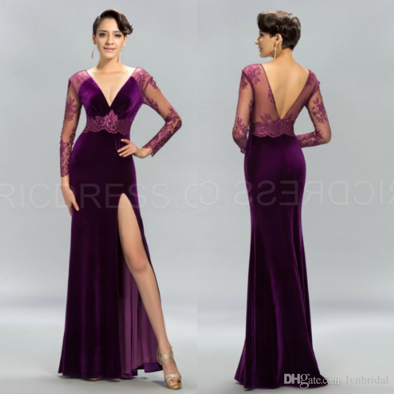 Velvet Evening Dresses With Sleeves - Formal Dresses