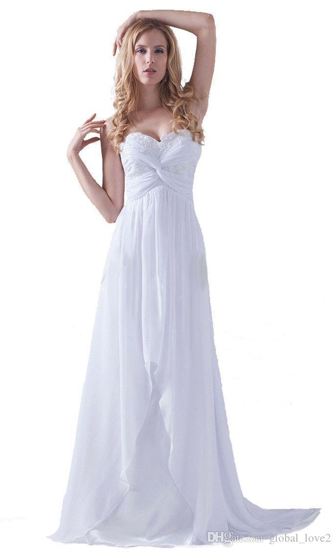New cheap chiffon beach wedding dresses under 100 sexy for Cheap casual wedding dress