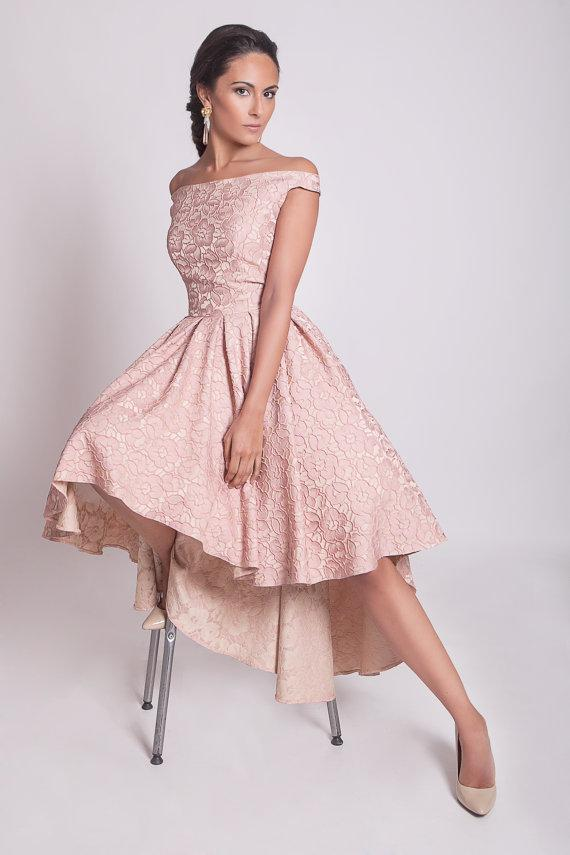 Pink Lace Cocktail Dresses Hi-lo Off Shoulder Party Dress Evening ...