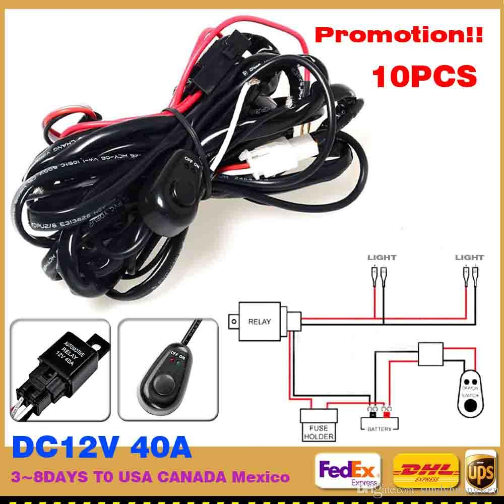 factory wiring harness kit relay switch fuse led hid work 10pcs wiring harness kit relay switch fuse led hid work light