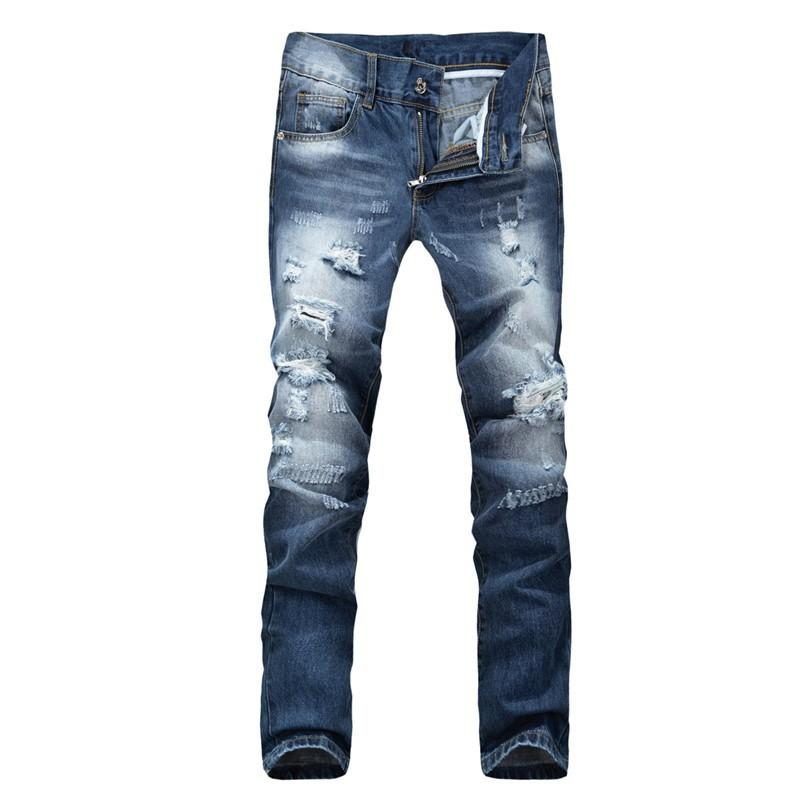 2017 2015 New Fashion Men`s Distressed Jeans With Holes Heavy ...