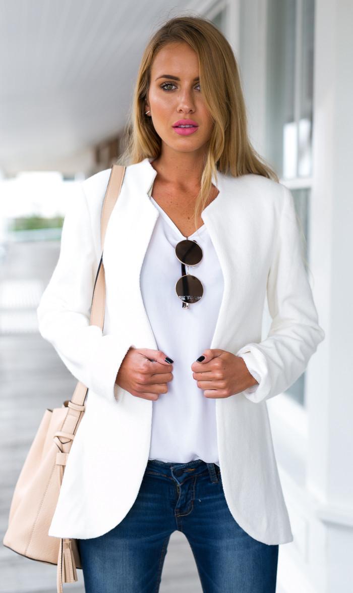 2017 Autumn White Blazer Women Casual Leisure Jacket Brief ...
