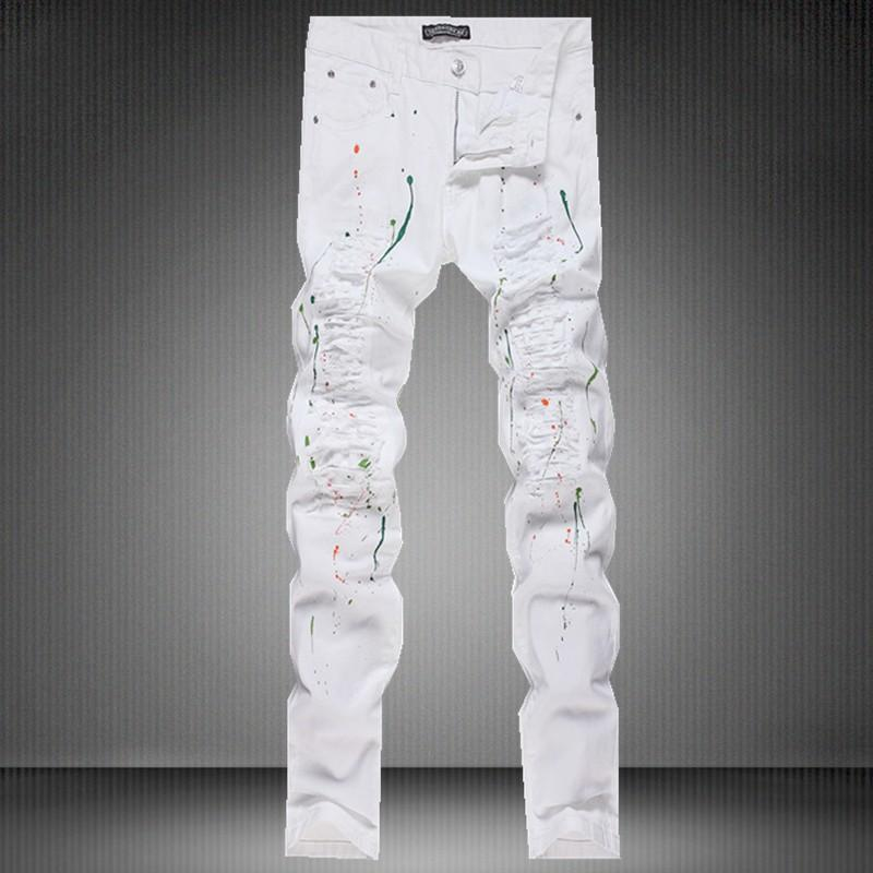 2016 New Summer Men's Straight Denim White Jeans Cut Paint ...