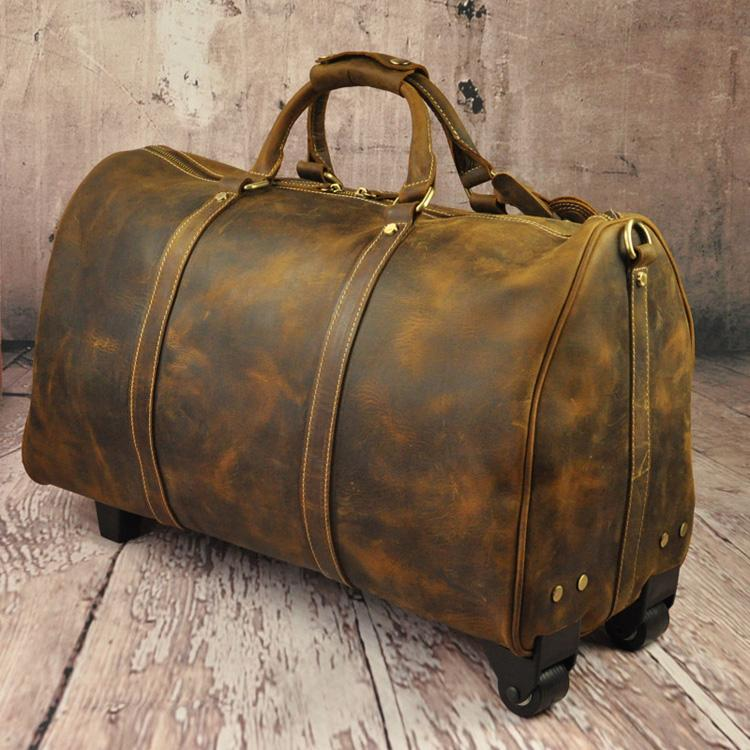 Vintage Crazy Horse Leather Travel Bag Men Big Bag Cowhide Tie Rod ...