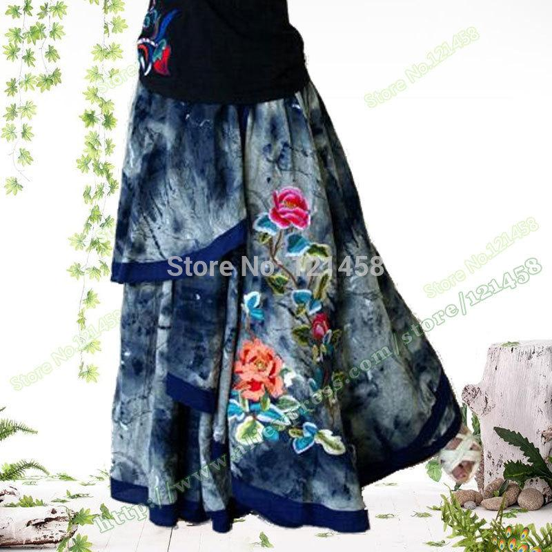 Vintage Casual Irregular Embroidered Flower Denim Female Long ...
