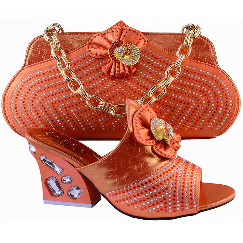African Fashion Shoes And Matching Bags Set For Women Dresses In OrangeWith Stones Italy Chunky ...