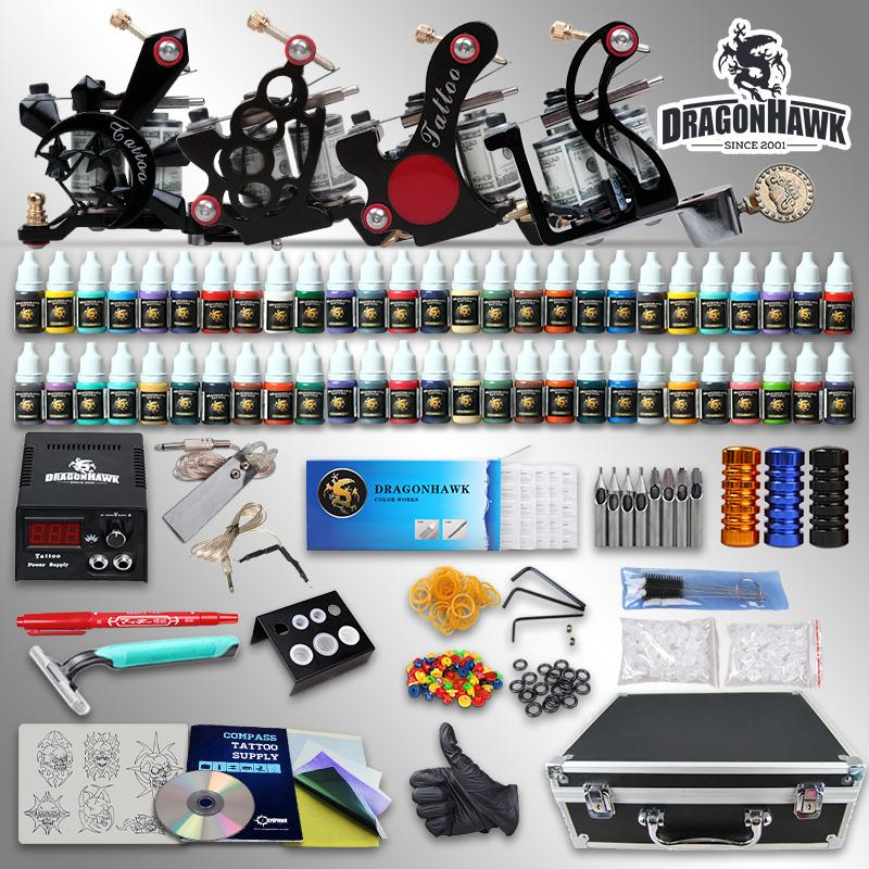 Beginner tattoo kits machine guns inks sets power supply for Best tattoo starter kit
