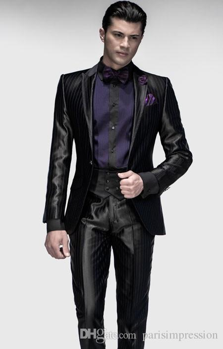 New Italian Men Tuxedos Black Wedding Suits For Men Peaked Lapel ...