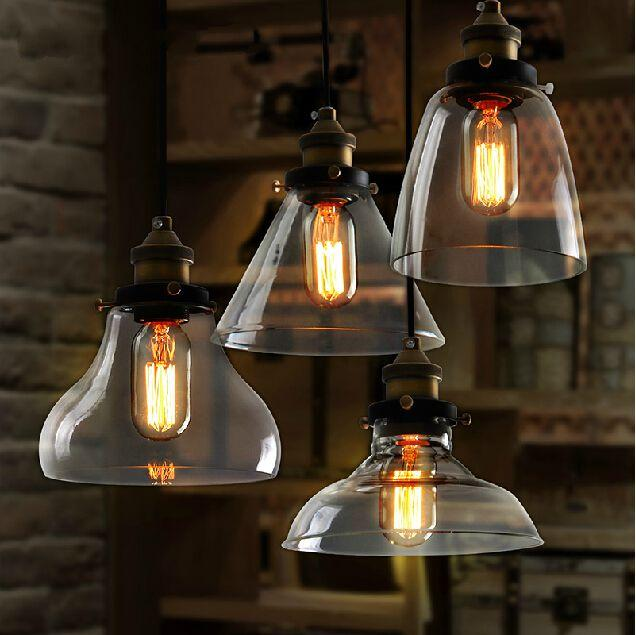 Retro Glass Pendant Lights Industry Style Lighting Dining