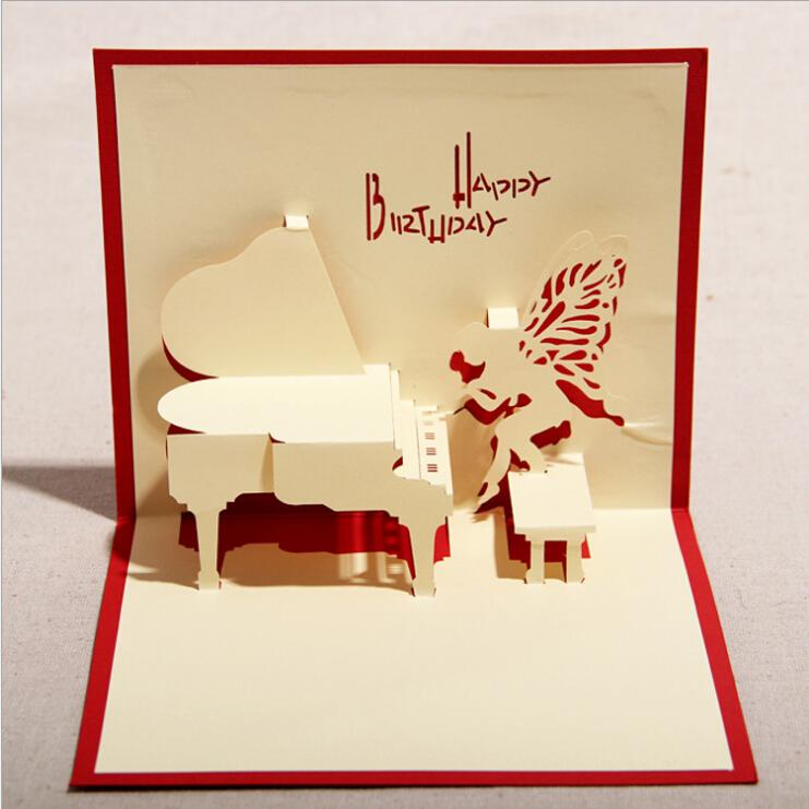 the music of piano d handmade card pop up gift greeting d cards, Greeting card