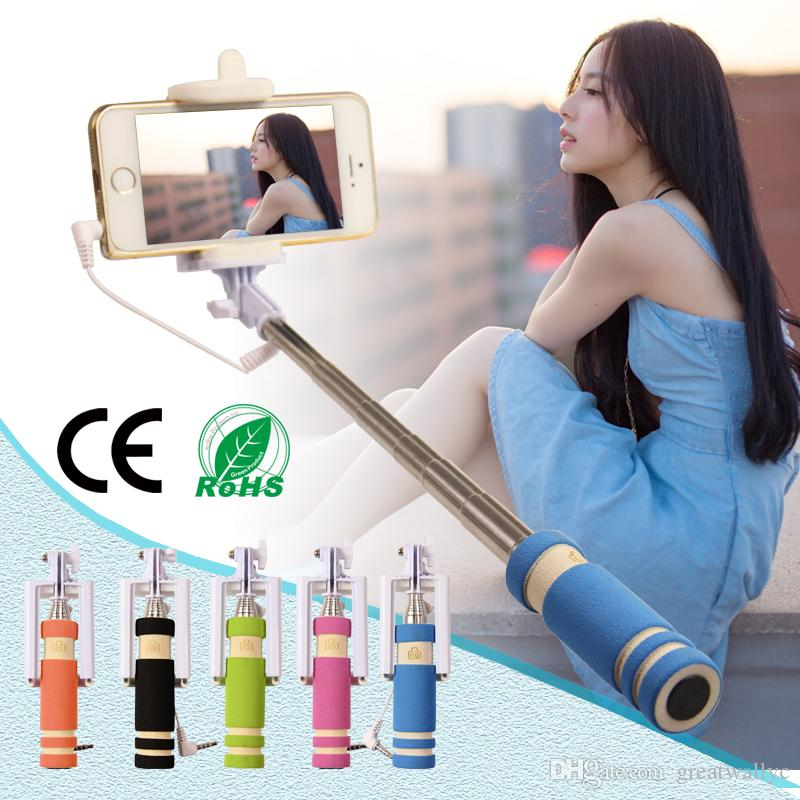 hot super mini wired selfie stick portable extendable folding handheld monopod self timer with. Black Bedroom Furniture Sets. Home Design Ideas